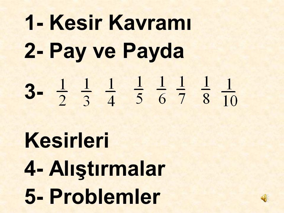 1- Kesir Kavramı 2- Pay ve Payda 3- Kesirleri 4- Alıştırmalar 5- Problemler