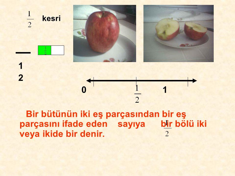 1 2 0 1 Bir bütünün iki eş parçasından bir eş parçasını ifade eden sayıya bir bölü iki veya ikide bir denir.