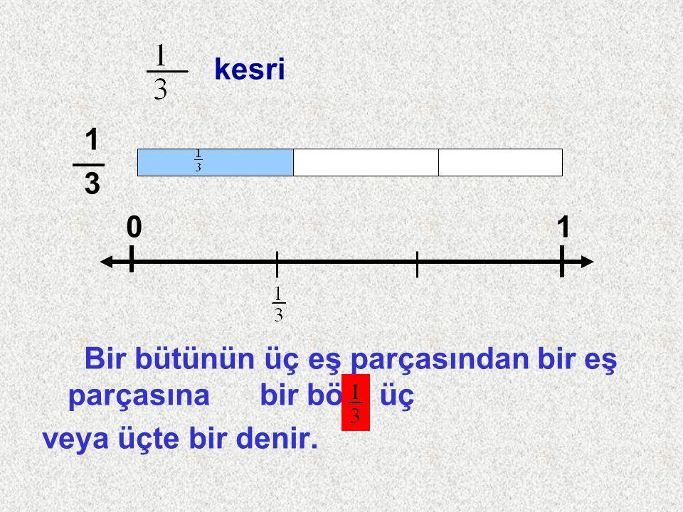 1 3 0 1 Bir bütünün üç eş parçasından bir eş parçasına bir bölü üç veya üçte bir denir.