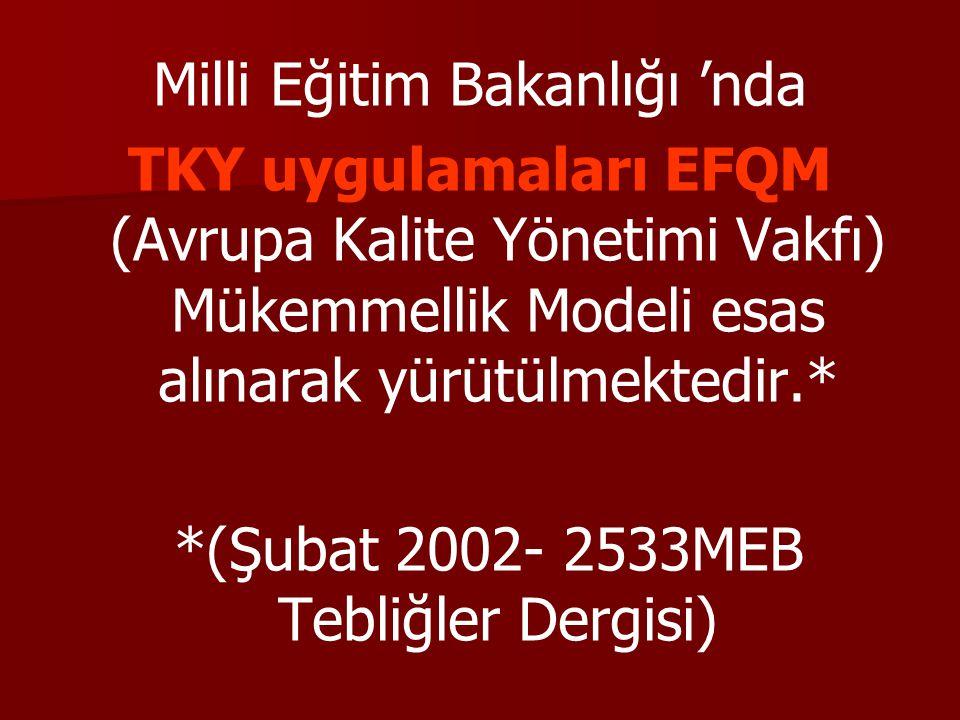 Milli Eğitim Bakanlığı 'nda TKY uygulamaları EFQM (Avrupa Kalite Yönetimi Vakfı) Mükemmellik Modeli esas alınarak yürütülmektedir.* *(Şubat 2002- 2533