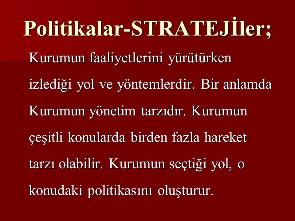 Politikalar-STRATEJİler; Kurumun faaliyetlerini yürütürken izlediği yol ve yöntemlerdir. Bir anlamda Kurumun yönetim tarzıdır. Kurumun çeşitli konular
