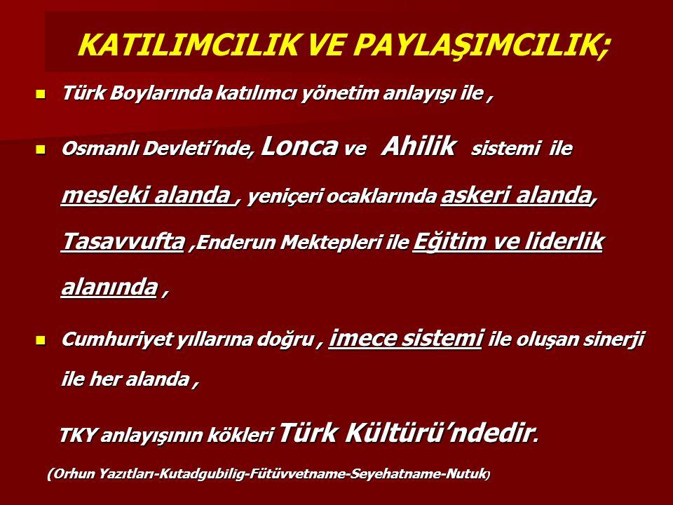 Türk Boylarında katılımcı yönetim anlayışı ile, Türk Boylarında katılımcı yönetim anlayışı ile, Osmanlı Devleti'nde, Lonca ve Ahilik sistemi ile mesle