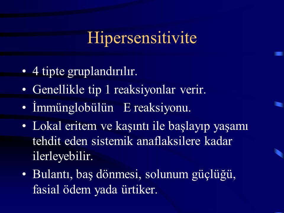 Hipersensitivite 4 tipte gruplandırılır. Genellikle tip 1 reaksiyonlar verir. İmmünglobülün E reaksiyonu. Lokal eritem ve kaşıntı ile başlayıp yaşamı