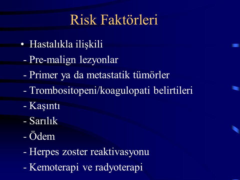 Risk Faktörleri Hastalıkla ilişkili - Pre-malign lezyonlar - Primer ya da metastatik tümörler - Trombositopeni/koagulopati belirtileri - Kaşıntı - Sar