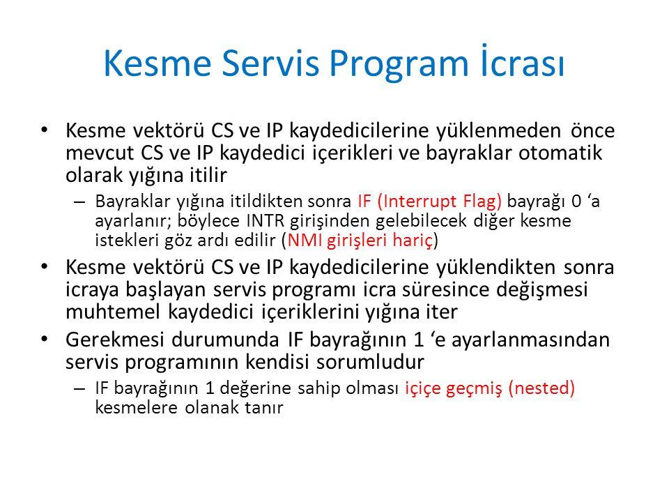 Kesme Servis Program İcrası Kesme vektörü CS ve IP kaydedicilerine yüklenmeden önce mevcut CS ve IP kaydedici içerikleri ve bayraklar otomatik olarak