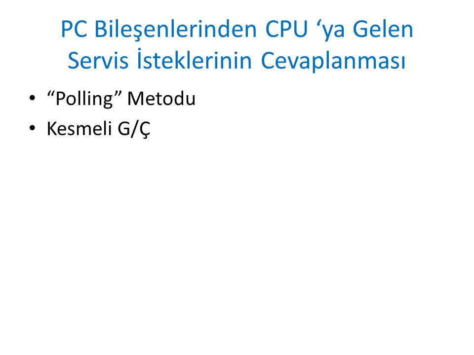 """PC Bileşenlerinden CPU 'ya Gelen Servis İsteklerinin Cevaplanması """"Polling"""" Metodu Kesmeli G/Ç"""