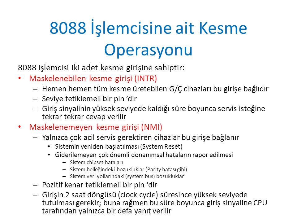 8088 İşlemcisine ait Kesme Operasyonu 8088 işlemcisi iki adet kesme girişine sahiptir: Maskelenebilen kesme girişi (INTR) – Hemen hemen tüm kesme üret
