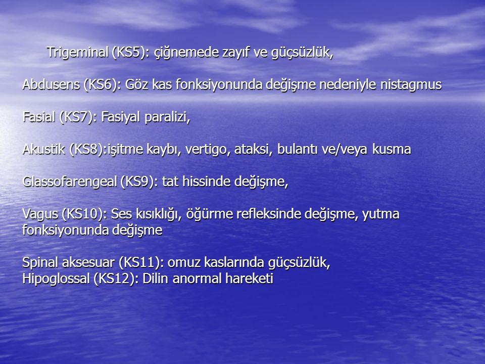 Trigeminal (KS5): çiğnemede zayıf ve güçsüzlük, Abdusens (KS6): Göz kas fonksiyonunda değişme nedeniyle nistagmus Fasial (KS7): Fasiyal paralizi, Akus