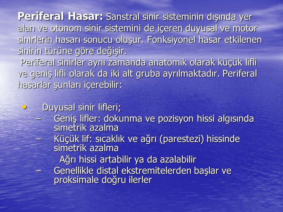 Periferal Hasar: Sanstral sinir sisteminin dışında yer alan ve otonom sinir sistemini de içeren duyusal ve motor sinirlerin hasarı sonucu oluşur. Fonk