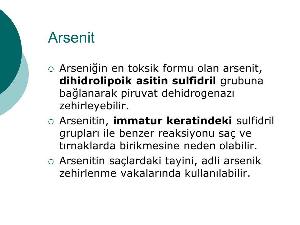 Arsenit  Arseniğin en toksik formu olan arsenit, dihidrolipoik asitin sulfidril grubuna bağlanarak piruvat dehidrogenazı zehirleyebilir.  Arsenitin,