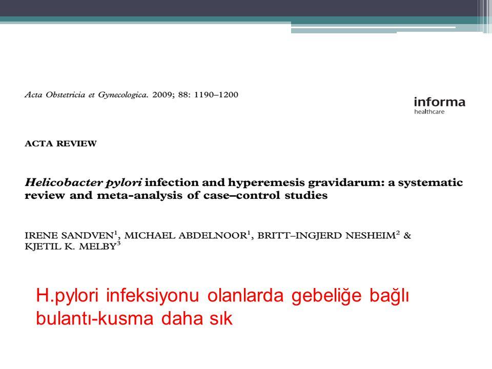 H.pylori infeksiyonu olanlarda gebeliğe bağlı bulantı-kusma daha sık