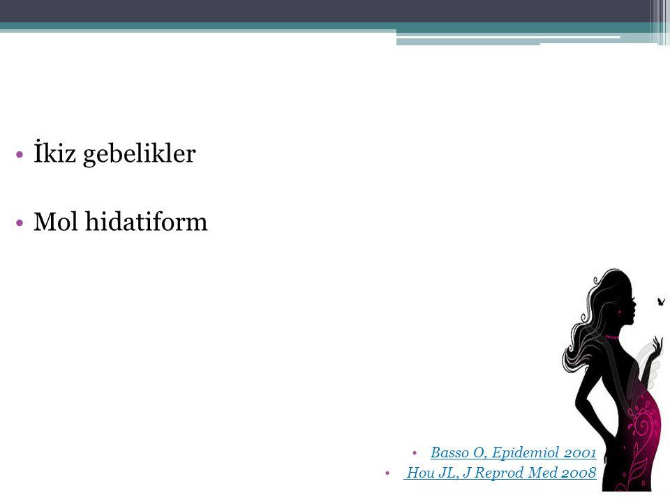 İkiz gebelikler Mol hidatiform Basso O, Epidemiol 2001 Hou JL, J Reprod Med 2008