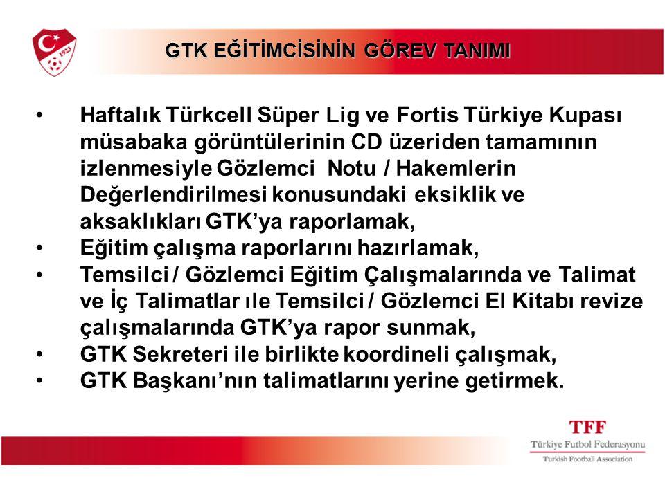 GTK EĞİTİMCİSİNİN GÖREV TANIMI GTK EĞİTİMCİSİNİN GÖREV TANIMI Haftalık Türkcell Süper Lig ve Fortis Türkiye Kupası müsabaka görüntülerinin CD üzeriden