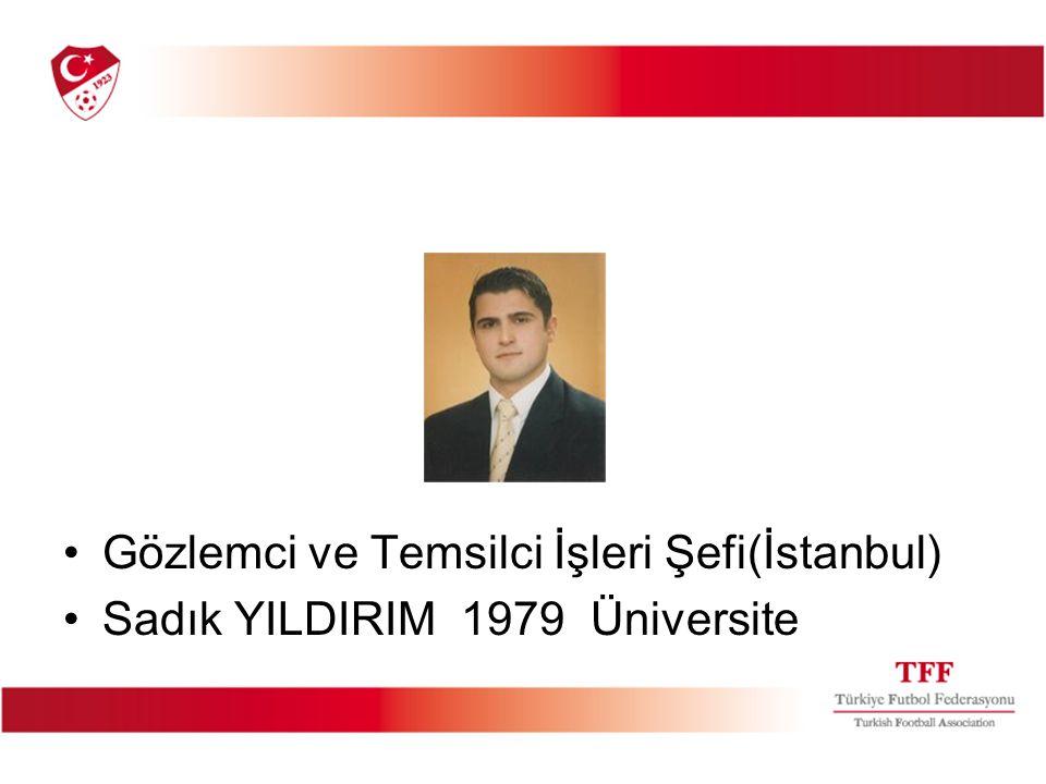 Gözlemci ve Temsilci İşleri Şefi(İstanbul) Sadık YILDIRIM 1979 Üniversite