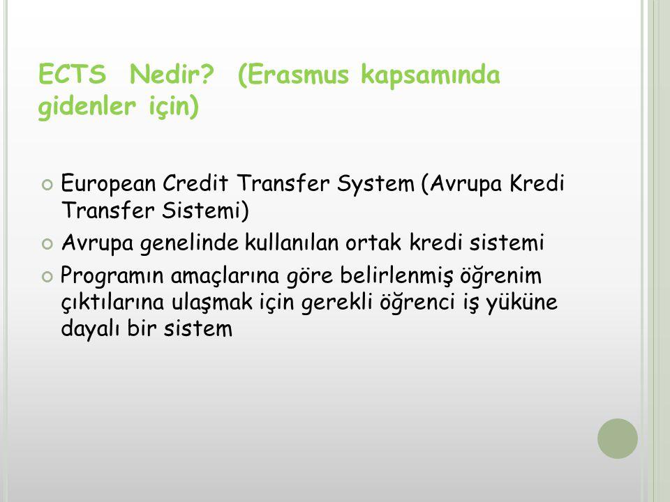 European Credit Transfer System (Avrupa Kredi Transfer Sistemi) Avrupa genelinde kullanılan ortak kredi sistemi Programın amaçlarına göre belirlenmiş öğrenim çıktılarına ulaşmak için gerekli öğrenci iş yüküne dayalı bir sistem ECTS Nedir.