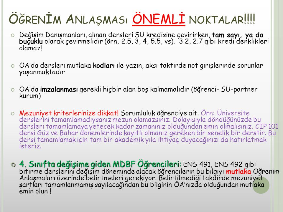 Ö ĞREN İ M A NLAŞMASı ÖNEMLİ NOKTALAR !!!.
