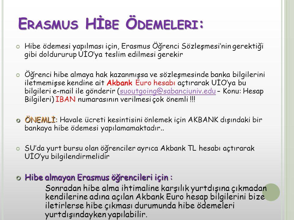 E RASMUS Hİ BE Ö DEMELERI : Hibe ödemesi yapılması için, Erasmus Öğrenci Sözleşmesi'nin gerektiği gibi doldururup UİO'ya teslim edilmesi gerekir Öğrenci hibe almaya hak kazanmışsa ve sözleşmesinde banka bilgilerini iletmemişse kendine ait Akbank Euro hesabı açtırarak UİO'ya bu bilgileri e-mail ile gönderir (suoutgoing@sabanciuniv.edu – Konu: Hesap Bilgileri) IBAN numarasının verilmesi çok önemli !!!suoutgoing@sabanciuniv.edu ÖNEMLİ: ÖNEMLİ: Havale ücreti kesintisini önlemek için AKBANK dışındaki bir bankaya hibe ödemesi yapılamamaktadır..