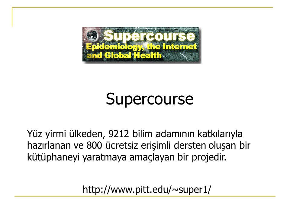 Supercourse Yüz yirmi ülkeden, 9212 bilim adamının katkılarıyla hazırlanan ve 800 ücretsiz erişimli dersten oluşan bir kütüphaneyi yaratmaya amaçlayan bir projedir.