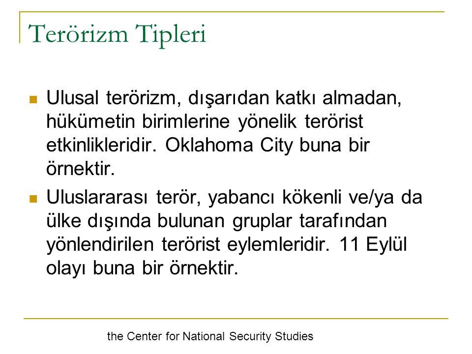Terörizm Tipleri Ulusal terörizm, dışarıdan katkı almadan, hükümetin birimlerine yönelik terörist etkinlikleridir.