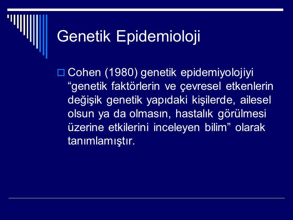 """Genetik Epidemioloji  Cohen (1980) genetik epidemiyolojiyi """"genetik faktörlerin ve çevresel etkenlerin değişik genetik yapıdaki kişilerde, ailesel ol"""