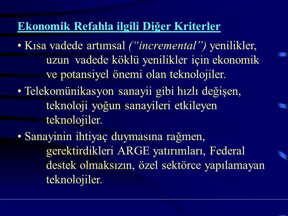 Ekonomik Refahla ilgili Diğer Kriterler Kısa vadede artımsal ( incremental ) yenilikler, uzun vadede köklü yenilikler için ekonomik ve potansiyel önemi olan teknolojiler.