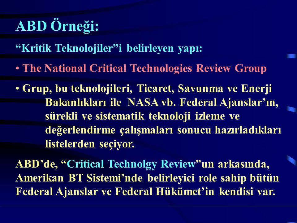 ABD Örneği: Kritik Teknolojiler i belirleyen yapı: The National Critical Technologies Review Group Grup, bu teknolojileri, Ticaret, Savunma ve Enerji Bakanlıkları ile NASA vb.