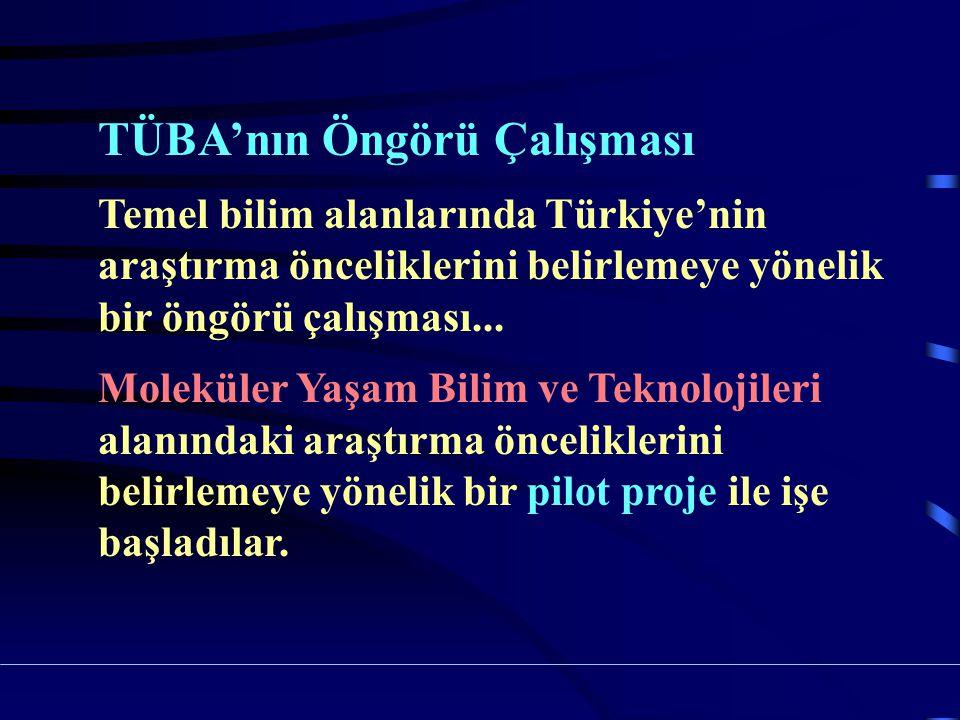 TÜBA'nın Öngörü Çalışması Temel bilim alanlarında Türkiye'nin araştırma önceliklerini belirlemeye yönelik bir öngörü çalışması...