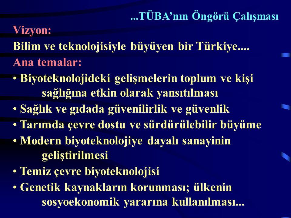 ...TÜBA'nın Öngörü Çalışması Vizyon: Bilim ve teknolojisiyle büyüyen bir Türkiye....