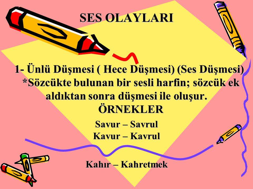 SES OLAYLARI 1- Ünlü Düşmesi ( Hece Düşmesi) (Ses Düşmesi) *Sözcükte bulunan bir sesli harfin; sözcük ek aldıktan sonra düşmesi ile oluşur. ÖRNEKLER 1