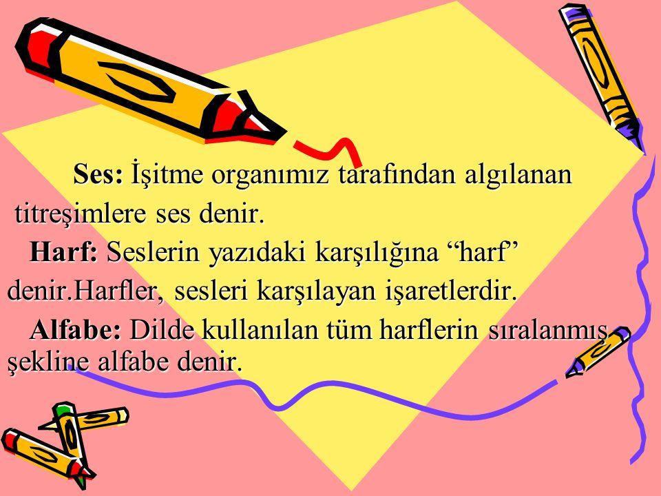 Türk Alfabesi: 29 harften oluşur.8 i sesli (ünlü) harf: a, e, ı, i, o, ö, u, ü.
