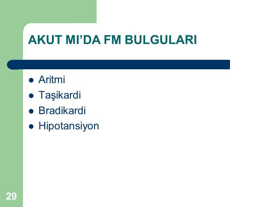29 AKUT MI'DA FM BULGULARI Aritmi Taşikardi Bradikardi Hipotansiyon