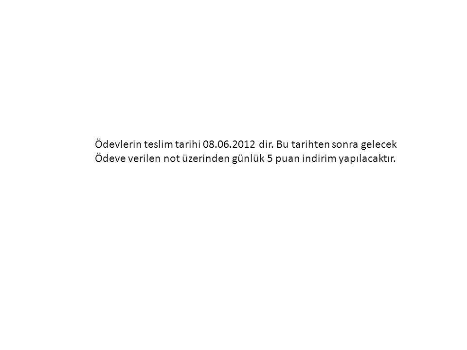 Ödevlerin teslim tarihi 08.06.2012 dir.