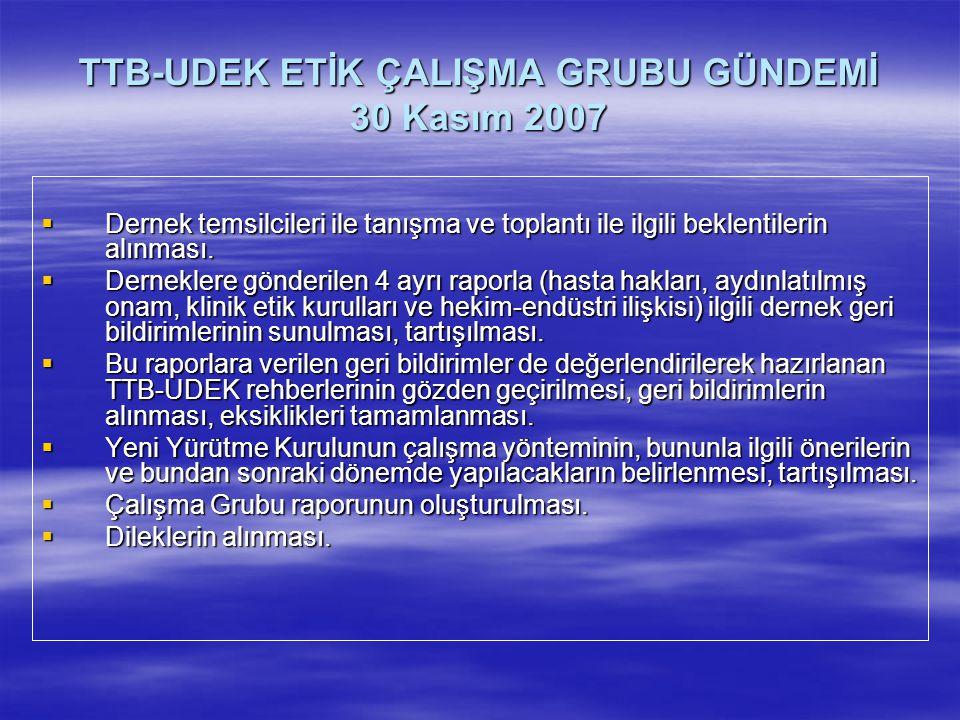 TTB-UDEK ETİK ÇALIŞMA GRUBU GÜNDEMİ 30 Kasım 2007  Dernek temsilcileri ile tanışma ve toplantı ile ilgili beklentilerin alınması.