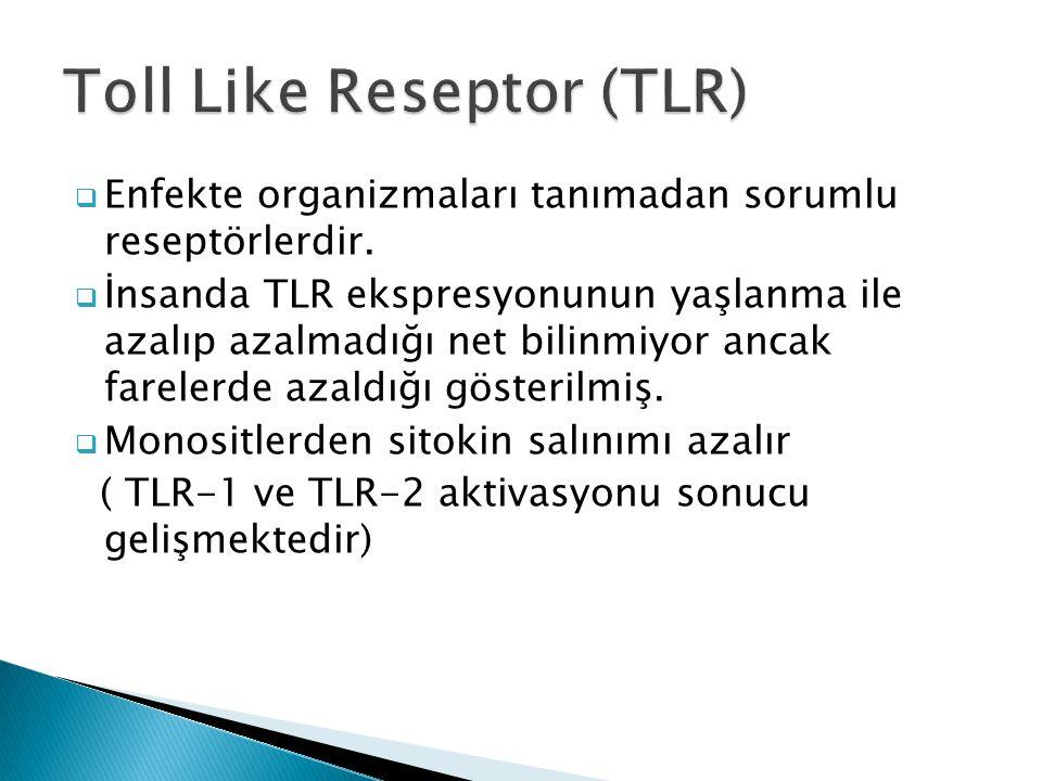  Enfekte organizmaları tanımadan sorumlu reseptörlerdir.  İnsanda TLR ekspresyonunun yaşlanma ile azalıp azalmadığı net bilinmiyor ancak farelerde a
