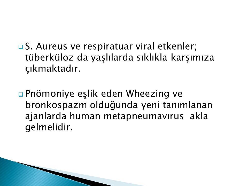  S. Aureus ve respiratuar viral etkenler; tüberküloz da yaşlılarda sıklıkla karşımıza çıkmaktadır.  Pnömoniye eşlik eden Wheezing ve bronkospazm old