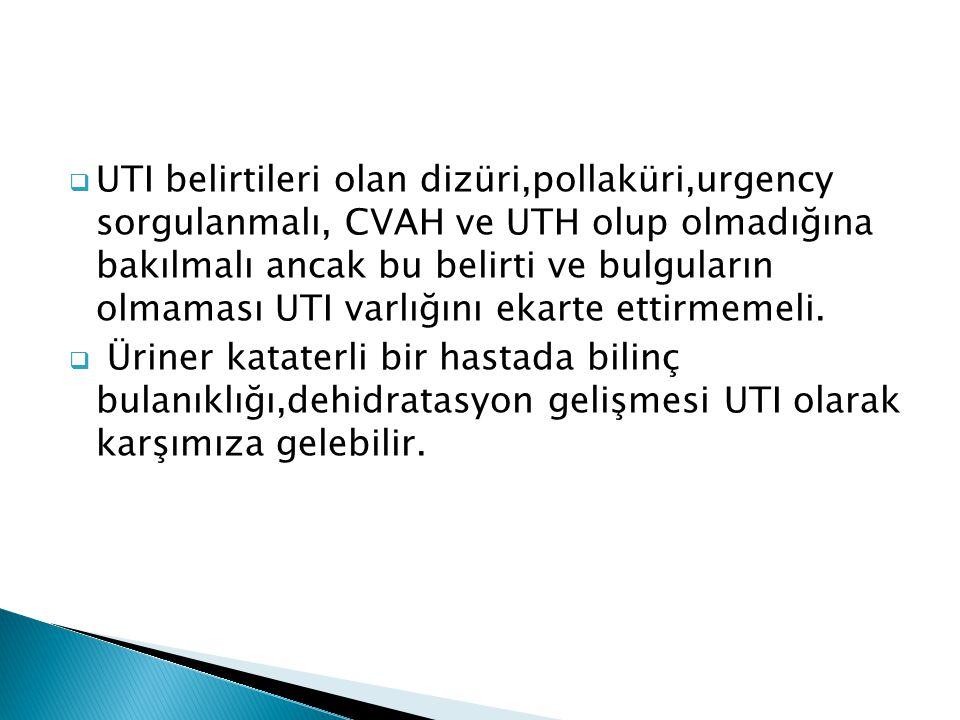  UTI belirtileri olan dizüri,pollaküri,urgency sorgulanmalı, CVAH ve UTH olup olmadığına bakılmalı ancak bu belirti ve bulguların olmaması UTI varlığ