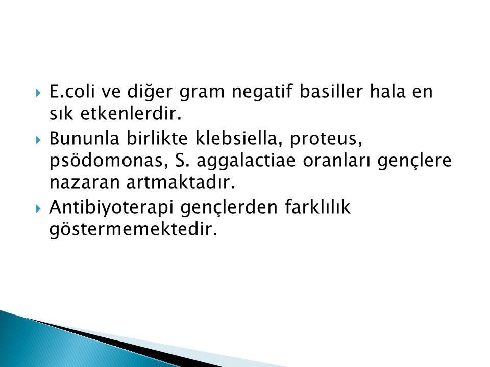  E.coli ve diğer gram negatif basiller hala en sık etkenlerdir.  Bununla birlikte klebsiella, proteus, psödomonas, S. aggalactiae oranları gençlere