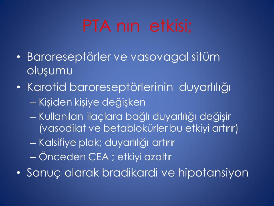 PTA nın etkisi; Baroreseptörler ve vasovagal sitüm oluşumu Karotid baroreseptörlerinin duyarlılığı – Kişiden kişiye değişken – Kullanılan ilaçlara bağ