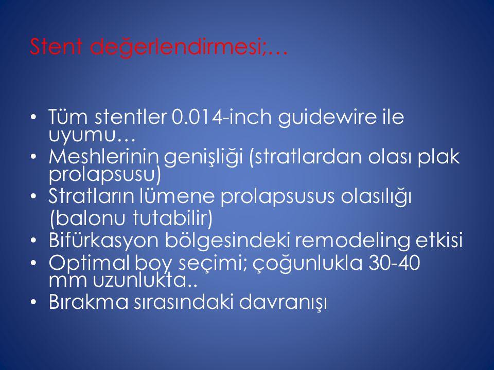 Stent değerlendirmesi;… Tüm stentler 0.014-inch guidewire ile uyumu… Meshlerinin genişliği (stratlardan olası plak prolapsusu) Stratların lümene prola