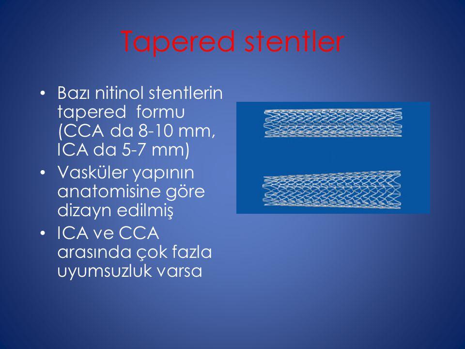 Tapered stentler Bazı nitinol stentlerin tapered formu (CCA da 8-10 mm, ICA da 5-7 mm) Vasküler yapının anatomisine göre dizayn edilmiş ICA ve CCA arasında çok fazla uyumsuzluk varsa
