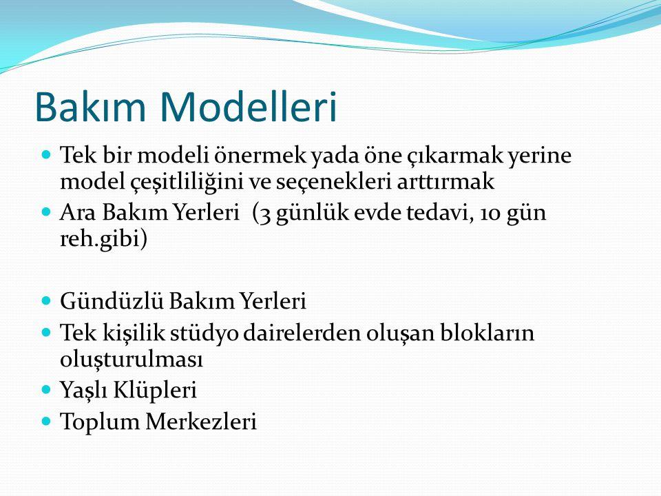 Bakım Modelleri Tek bir modeli önermek yada öne çıkarmak yerine model çeşitliliğini ve seçenekleri arttırmak Ara Bakım Yerleri (3 günlük evde tedavi,