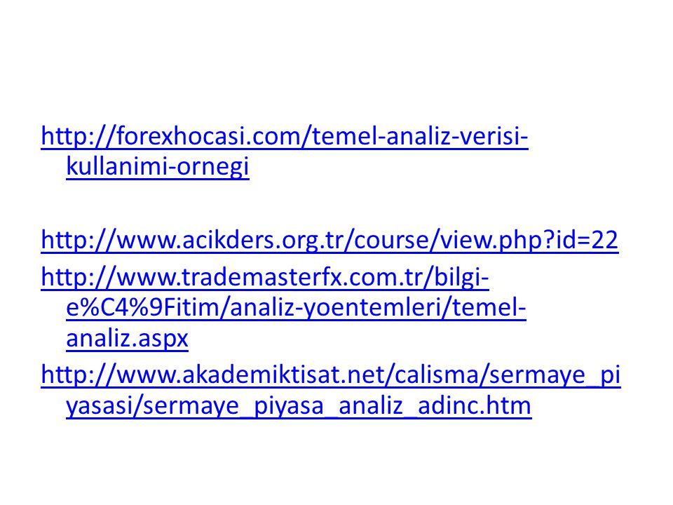 http://forexhocasi.com/temel-analiz-verisi- kullanimi-ornegi http://www.acikders.org.tr/course/view.php?id=22 http://www.trademasterfx.com.tr/bilgi- e
