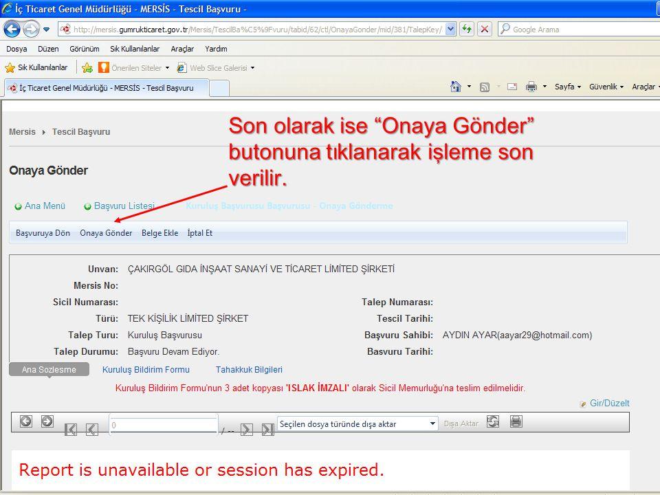 Son olarak ise Onaya Gönder butonuna tıklanarak işleme son verilir.