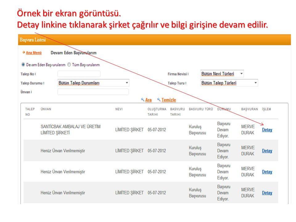 Örnek bir ekran görüntüsü. Detay linkine tıklanarak şirket çağrılır ve bilgi girişine devam edilir.