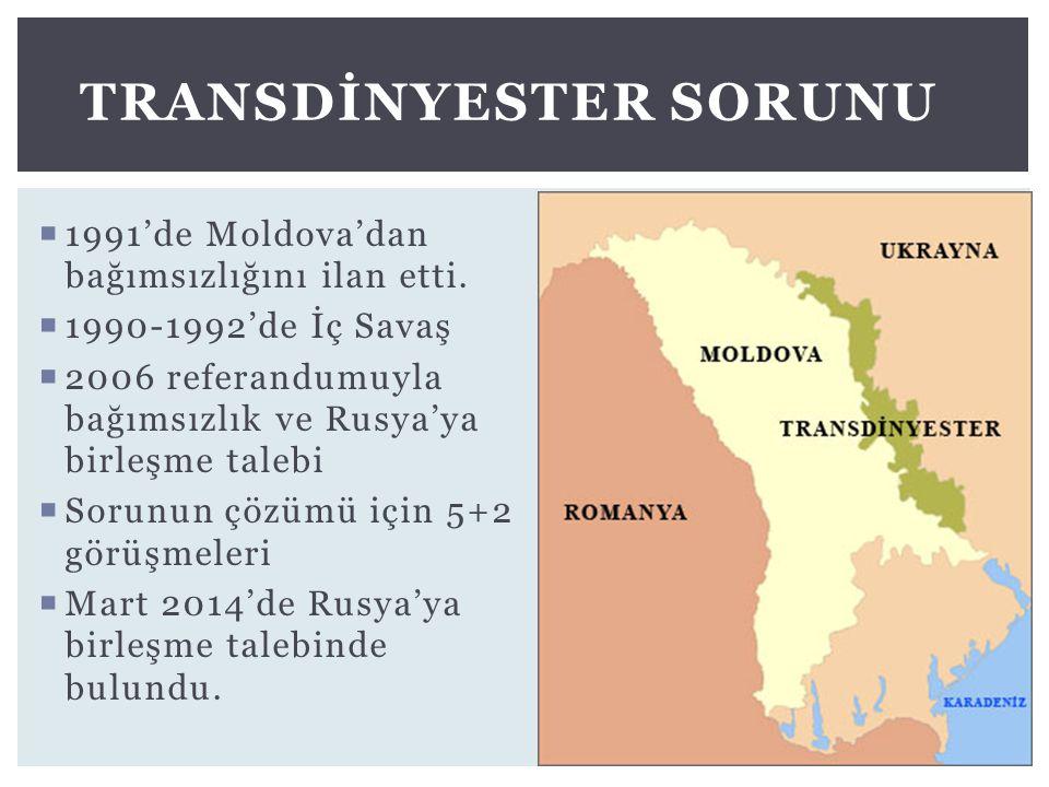  1991'de Moldova'dan bağımsızlığını ilan etti.  1990-1992'de İç Savaş  2006 referandumuyla bağımsızlık ve Rusya'ya birleşme talebi  Sorunun çözümü