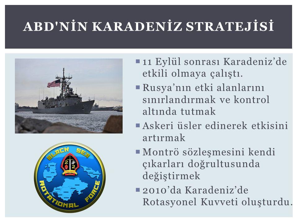  11 Eylül sonrası Karadeniz'de etkili olmaya çalıştı.  Rusya'nın etki alanlarını sınırlandırmak ve kontrol altında tutmak  Askeri üsler edinerek et