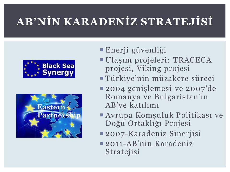  Enerji güvenliği  Ulaşım projeleri: TRACECA projesi, Viking projesi  Türkiye'nin müzakere süreci  2004 genişlemesi ve 2007'de Romanya ve Bulgaris