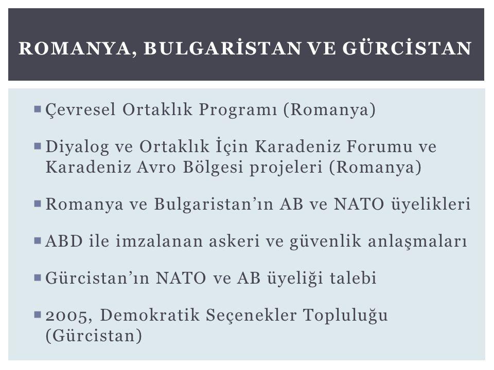  Çevresel Ortaklık Programı (Romanya)  Diyalog ve Ortaklık İçin Karadeniz Forumu ve Karadeniz Avro Bölgesi projeleri (Romanya)  Romanya ve Bulgaris