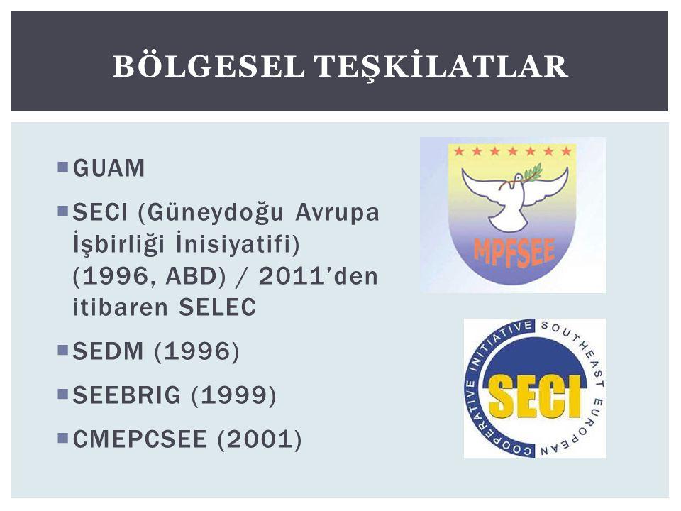  GUAM  SECI (Güneydoğu Avrupa İşbirliği İnisiyatifi) (1996, ABD) / 2011'den itibaren SELEC  SEDM (1996)  SEEBRIG (1999)  CMEPCSEE (2001) BÖLGESEL