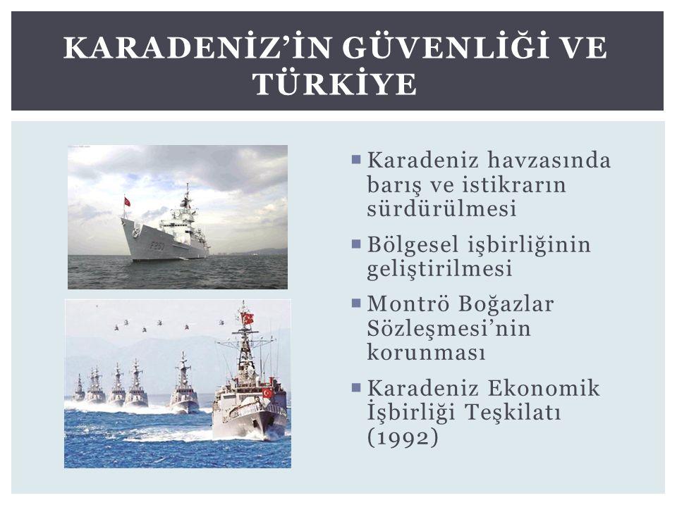  Karadeniz havzasında barış ve istikrarın sürdürülmesi  Bölgesel işbirliğinin geliştirilmesi  Montrö Boğazlar Sözleşmesi'nin korunması  Karadeniz